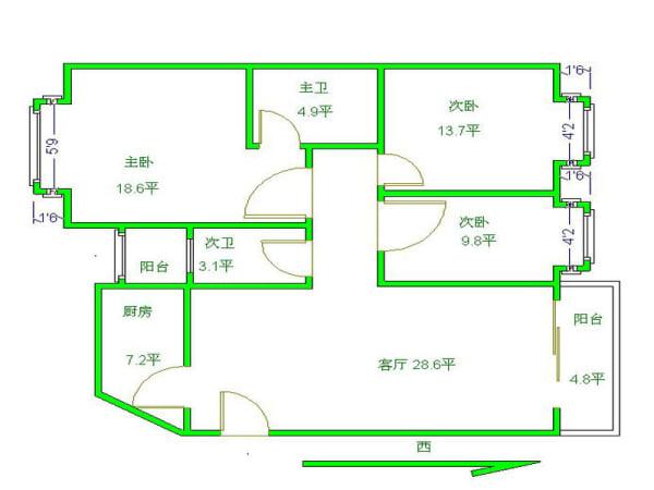 7 元 户型: 3室2厅 朝向: 东西 楼层: 低楼层/12楼 小区: 新加坡花园